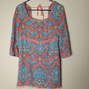 Free people boho bell sleeves tunic top size 6